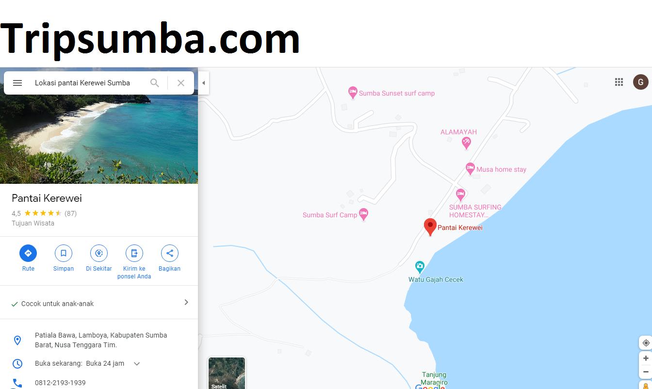 Lokasi Pantai Kerewei Sumba